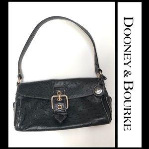 Dooney and Bourke black ostrich texture satchel